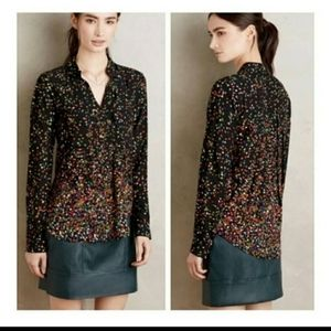 Anthropologie Maeve Pintuked Wynwood button down